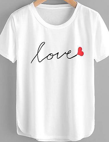 abordables Hauts pour Femmes-Tee-shirt Femme, Lettre - Coton Imprimé Basique / Chic de Rue Blanche / Printemps