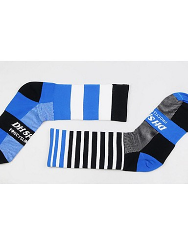 cheap Cycling Clothing-Compression Socks Sport Socks / Athletic Socks Cycling Socks Men's Women's Cycling / Bike Bike / Cycling Anatomic Design Breathability Limits Bacteria 1 Pair Stripes Letter & Number Nylon Elastane