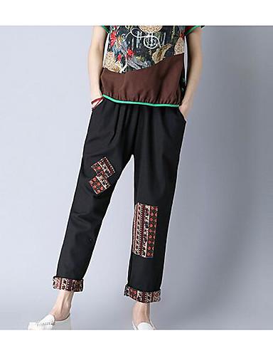 בגדי ריקוד נשים פשוט צ'ינו מכנסיים גיאומטרי / אביב