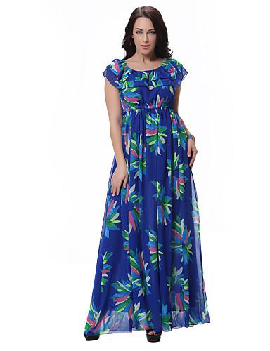 סטרפלס מעל הברך דפוס, פרחוני - שמלה סווינג סקיני מידות גדולות בוהו בגדי ריקוד נשים