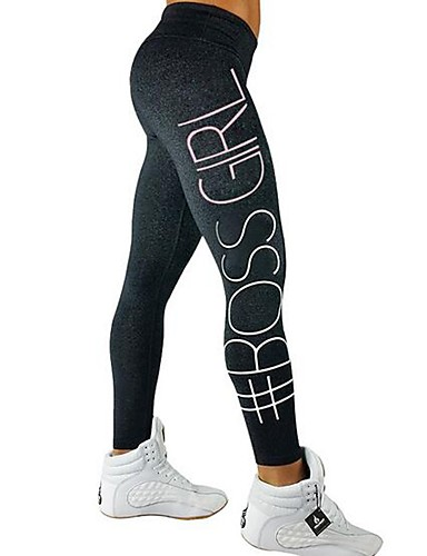 7dac45dd644 Women s Yoga Pants Dark Grey Light Grey Blue Sports Geometric Cotton Tights  Zumba Running Fitness Activewear Breathable Quick Dry Stretchy