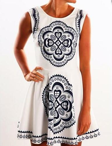 מעל הברך דפוס, גיאומטרי - שמלה נדן בגדי ריקוד נשים / קיץ