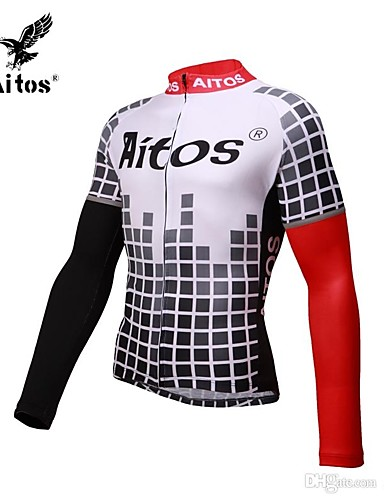 cheap Cycling Clothing-Jaggad Men's Long Sleeve Cycling Jersey - Black / Red Bike Jersey Compression Clothing Quick Dry Sports Nylon Spandex Mountain Bike MTB Road Bike Cycling Clothing Apparel / High Elasticity