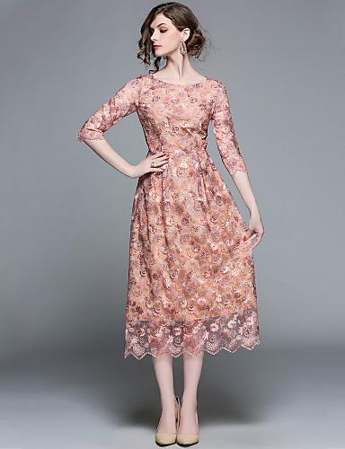 Damskie Wyjściowe Moda miejska / Wyrafinowany styl Linia A Sukienka - Solidne kolory, Haft Midi