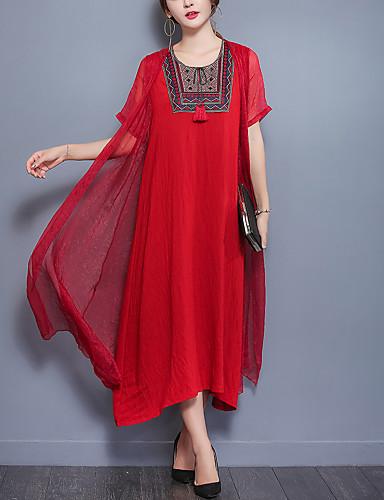 Per Donna Stoffe Orientali Cotone Largo Largo Vestito - Collage Con Ricami, Tinta Unita Medio Rosso #06580867