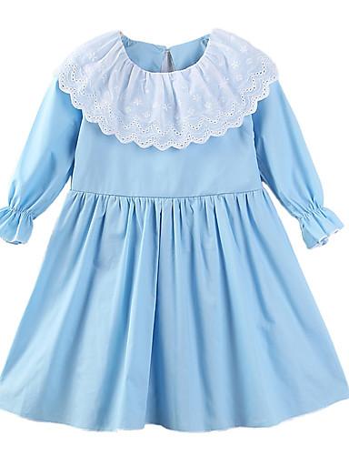 5ed4bd09738b Baby Pige Afslappet Daglig   I-byen-tøj Trykt mønster Krøllede Folder    Stilfuldt   Ren Farve Langærmet Bomuld   Polyester Kjole Blå   Sødt