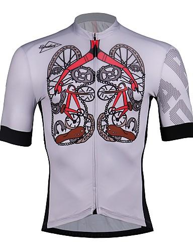 cheap Cycling Clothing-SPAKCT Men's Cycling Jersey - Grey Skeleton Bike Jersey Quick Dry Sports 100% Polyester Mountain Bike MTB Road Bike Cycling Clothing Apparel / Stretchy / Expert / Expert / YKK Zipper / Race Fit