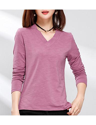 abordables Hauts pour Femme-Tee-shirt Femme, Couleur Pleine Chic de Rue Col en V Mince Jaune