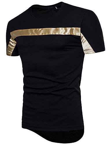 cheap Men's Tees & Tank Tops-Men's Daily Cotton T-shirt - Color Block Sequins Round Neck White XL / Short Sleeve / Summer
