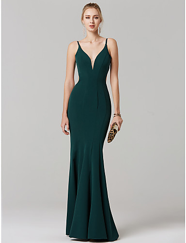 dc1c88f581e Mermaid   Trumpet Plunging Neck Sweep   Brush Train Spandex Cocktail Party    Prom   Formal Evening Dress with Pleats by TS Couture® 6566617 2019 –   129.99