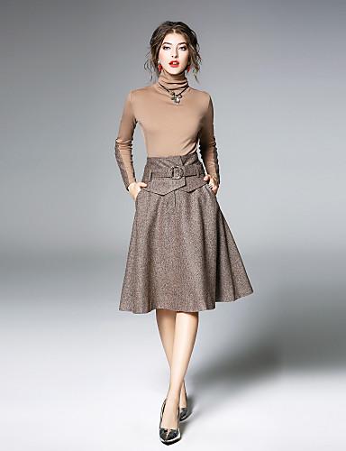 גולף חצאית צבע טהור, צבע אחיד - סט מתוחכם בגדי ריקוד נשים