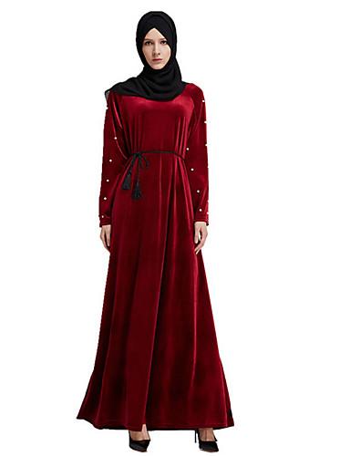 מקסי אחיד - שמלה עבאיה / כפתן בסיסי בגדי ריקוד נשים