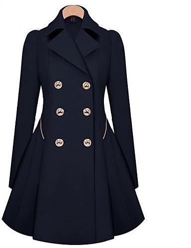 billige Ytterklær til damer-Dame Daglig Vår Lang Trenchcoat, Ensfarget Skjortekrage Langermet Polyester Svart / Navyblå / Kakifarget L / XL / XXL