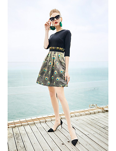דפוס, פרחוני - שמלה שחורה וקטנה סגנון סיני בגדי ריקוד נשים