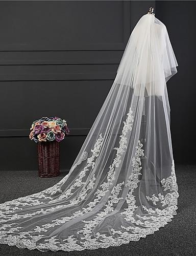 שתי שכבות רטרו הינומות חתונה צעיפי קתדרלה עם ריקמה טול / קלאסי
