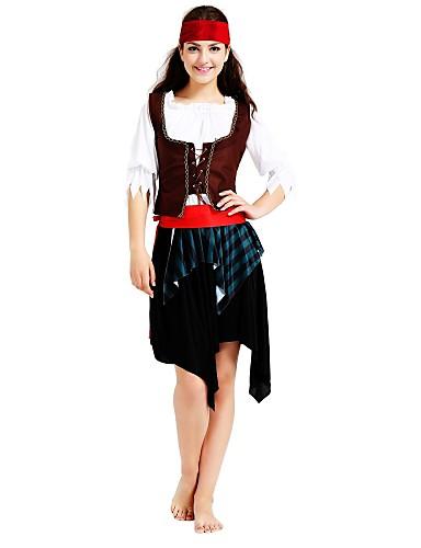 voordelige Cosplay & Kostuums-Pirates of the Caribbean Piraat Kostuum Heren Verjaardag Halloween Carnaval Kinderdag Festival / Feestdagen Koffie Carnaval Kostuums Effen