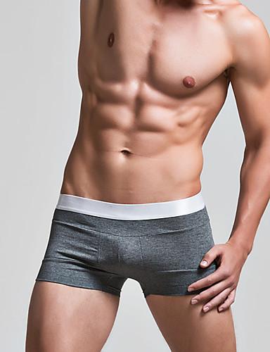גברים רגיל מיקרו אלסטי מוצקים מתאגרפים תחתונים בינוני כותנה 1pc אפור אדום לבן כחול