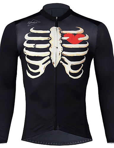 cheap Cycling Clothing-SPAKCT Men's Long Sleeve Cycling Jersey - Black Skeleton Bike Jersey Moisture Wicking Quick Dry Sports Elastane Polyster Mountain Bike MTB Road Bike Cycling Clothing Apparel / Stretchy / Expert