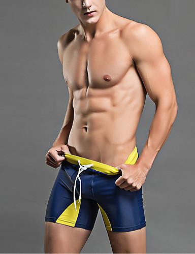 L XL XXL דפוס פסים, בגדי ים חלקים תחתונים כחול נייבי אפור ספורטיבי בגדי ריקוד גברים / סקסית