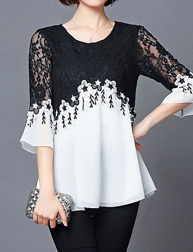7afb27e2d40a6a Women's Daily Holiday Street chic Plus Size Loose Blouse - Color Block Black  & White, Patchwork White XXXL / Spring / Summer / Flare Sleeve / Lace