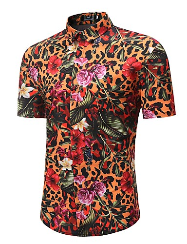 cheap Men's Tops-Men's Beach Boho / Chinoiserie Plus Size Cotton Shirt - Floral / Leopard / Animal Print / Short Sleeve / Spring / Summer