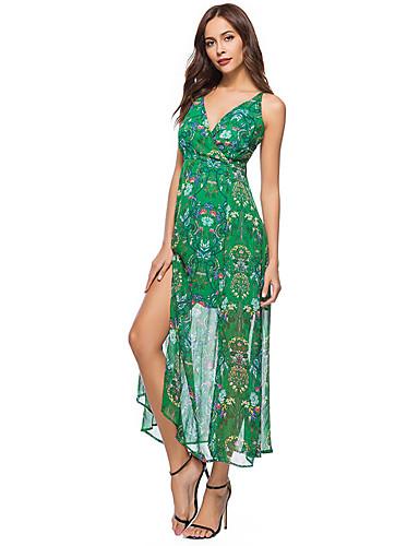 כתפיה מקסי דפוס, פרחוני - שמלה נדן בוהו בגדי ריקוד נשים