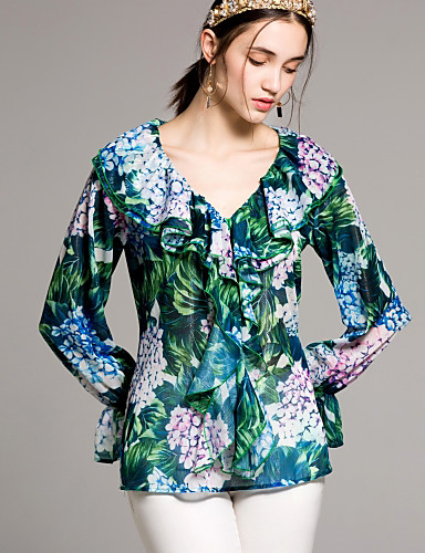 billige Topper til damer-V-hals Skjorte Dame - Blomstret Grunnleggende