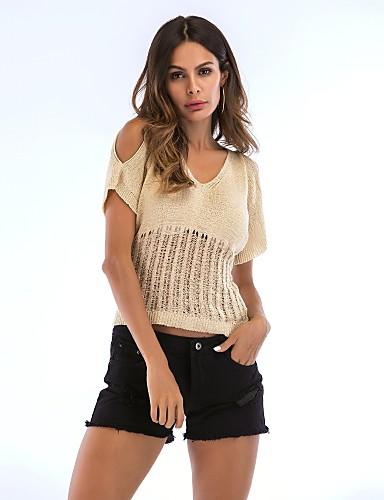 abordables Hauts pour Femme-Tee-shirt Femme, Couleur Pleine - Coton Découpé Actif Col en V Mince Noir / Eté