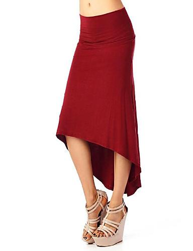 billige Skjørt-Dame Sofistikert Kroppstett Kjole Skjørt - Ut på byen Ensfarget Flettet / Trykt mønster Asymmetrisk Svart Rød S M L / Sexy / Tynn