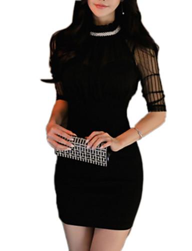 Damskie Podstawowy Bodycon Sukienka - Jendolity kolor, Patchwork Przed kolano