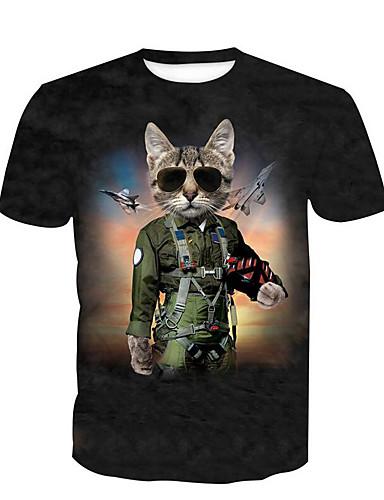 preiswerte Herren T-Shirts & Tank Tops-Herrn Tier - Grundlegend Übergrössen Baumwolle T-shirt, Rundhalsausschnitt Schwarz XL / Kurzarm / Lang