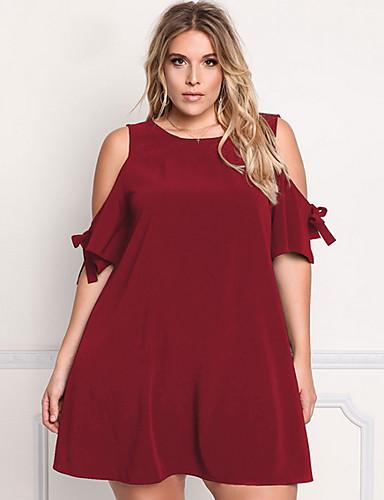 Damskie Rozmiar plus Moda miejska Luźna Pochwa Sukienka - Jendolity kolor Z odsłoniętymi ramionami Przed kolano