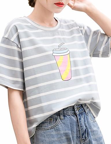 T-shirt Damskie Moda miejska Bawełna Luźna - Prążki