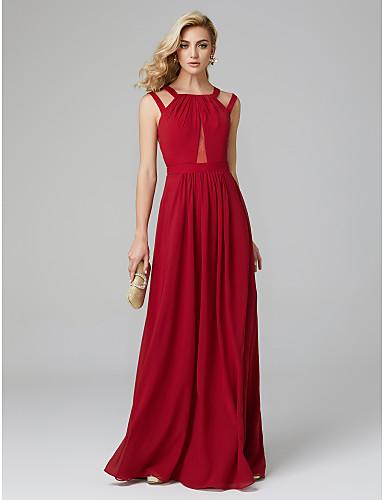 גזרת A עם תכשיטים עד הריצפה שיפון גב יפהפייה נשף רקודים / ערב רישמי שמלה עם קפלים על ידי TS Couture®