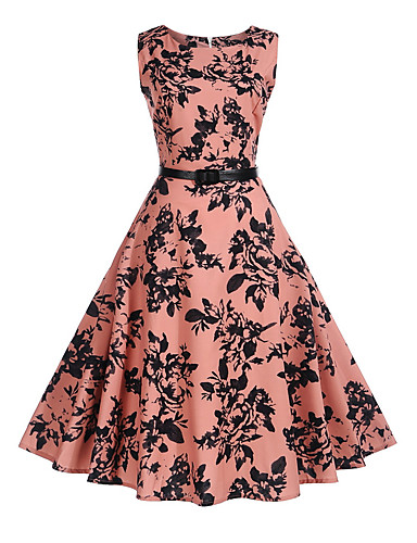 5af4578f Women's Floral Daily Holiday Vintage A Line Dress - Trees / Leaves Print  Summer Pink L XL XXL