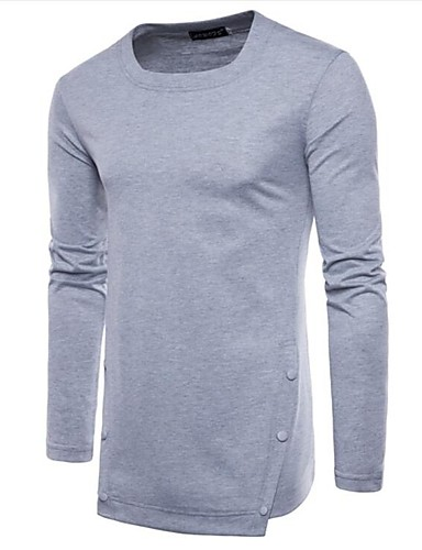 T-shirt Męskie Bawełna Okrągły dekolt Solidne kolory / Długi rękaw