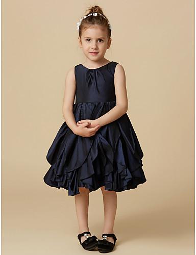 A-Line Knee Length Flower Girl Dress - Taffeta Sleeveless Jewel Neck with Buttons by LAN TING BRIDE®