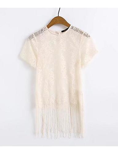 T-shirt Damskie Frędzel Bawełna Solidne kolory Rękaw motylek