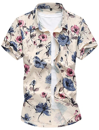 Koszula Męskie Podstawowy Bawełna Kwiaty / Krótki rękaw