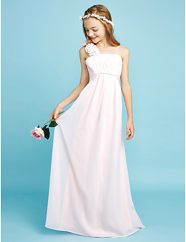 מעטפת \ עמוד כתפיה אחת עד הריצפה שיפון שמלה לשושבינות הצעירות  עם תד נשפך סרט פרח אסוף על ידי LAN TING BRIDE®