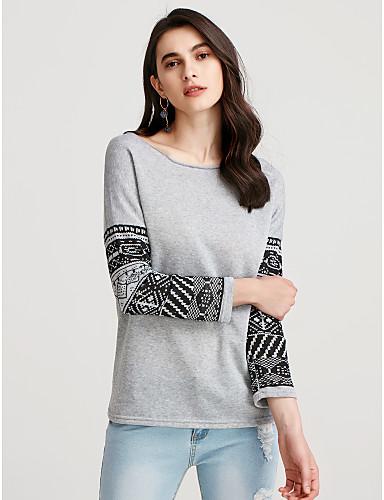 abordables Camisas y Camisetas para Mujer-Mujer Chic de Calle Algodón Camisa Corte Ancho Geométrico Gris L