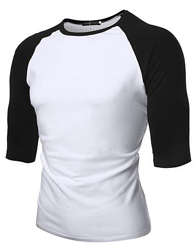 T-shirt Męskie Aktywny / Podstawowy Bawełna Sport Okrągły dekolt Kolorowy blok / Krótki rękaw