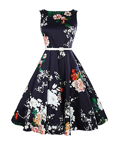 Damskie Vintage Szczupła Swing Sukienka - Kwiaty Midi