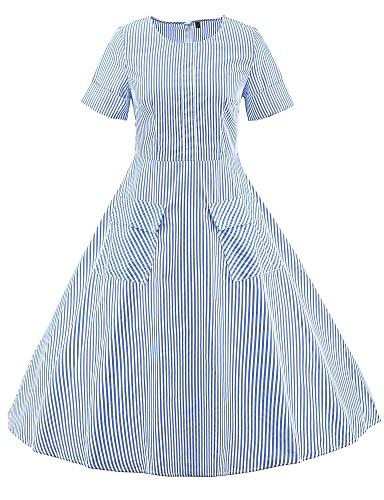hesapli Vintage Kraliçesi-Kadın's Büyük Bedenler Dışarı Çıkma Vintage Sokak Şıklığı Pamuklu İnce Çan Elbise - Çizgili Midi Gül kurusu / Sexy