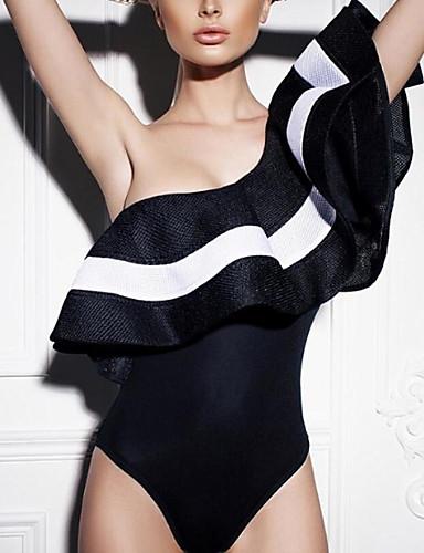 billige Bikinier og damemote-Dame Drapering Store størrelser Stroppeløs Hvit Svart Bandeau Cheeky En del Badetøy - Stripet Drapering M L XL / Sexy