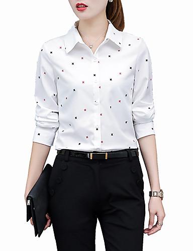 abordables Camisas y Camisetas para Mujer-Mujer Trabajo Tallas Grandes Camisa, Cuello Camisero Geométrico Blanco XXL / Primavera / Verano