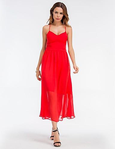 Damskie Wyjściowe Podstawowy Szyfon / Swing Sukienka - Solidne kolory W serek Midi