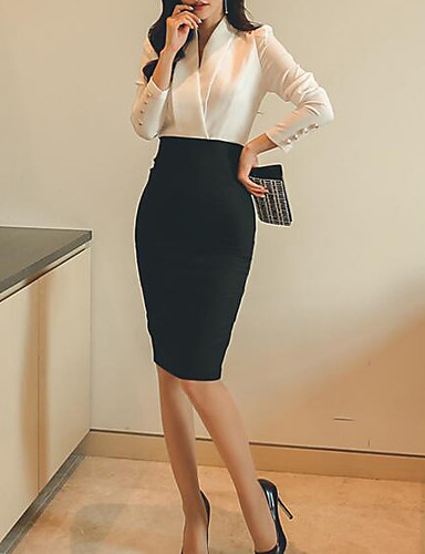 Women's Daily Work Weekend Formal Solid V Neck Skirt Long Sleeves Spring
