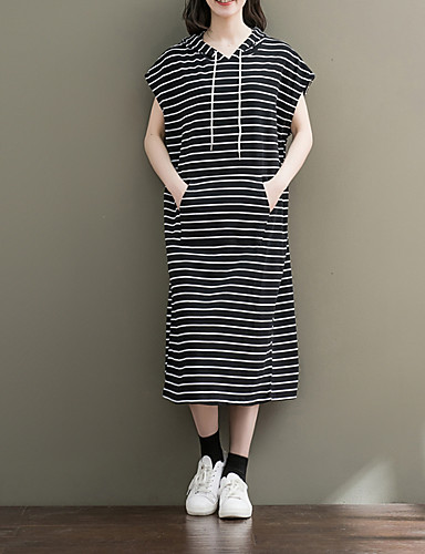 17c8955178e9 Γυναικεία Βαμβάκι Σε γραμμή Α Φόρεμα - Ριγέ Μίντι