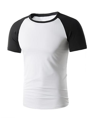 Rozmiar plus T-shirt Męskie Aktywny / Podstawowy Bawełna Okrągły dekolt Wielokolorowa / Krótki rękaw